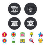 Smart TV mode icon. 3D Television symbol. Smart TV mode icon. Widescreen symbol. Full hd 1080p resolution. 3D Television sign. Calendar, Information and Royalty Free Stock Photography