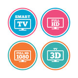 Smart TV mode icon. 3D Television symbol. Royalty Free Stock Photo