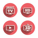 Smart TV mode icon. 3D Television symbol Stock Photo