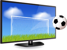 Smart tv och fotboll Royaltyfria Bilder