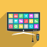 Smart TV with remote control, flat style illustration. With long shadow Royalty Free Stock Photo