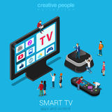 Smart TV, set top box and remote controller with micro people. Smart online internet ip tv flat 3d web isometric infographic. Next generation IPTV television Royalty Free Stock Photos