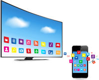 Smart TV and Smart Phone with Apps Royalty Free Stock Images