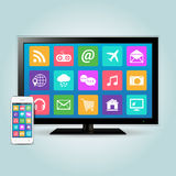 Smart TV and smartphone with app icons Royalty Free Stock Photos