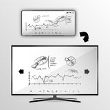 Smart tv and smartphone statistics graphic Stock Photo