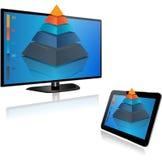Smart TV y tableta con el gráfico 3d ilustración del vector