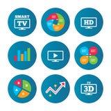 Smart TVfunktionslägesymbol symbol för television 3D Royaltyfri Fotografi