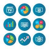 Smart TVfunktionslägesymbol symbol för television 3D Arkivbilder