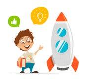Smart ungeuppfinnare och raket vektor illustrationer