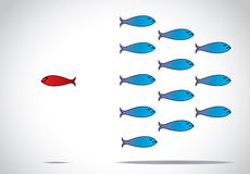Smart unique and happy fish moving against the group - concept design  illustration inspiring leader. A sharp smart alert happy red fish with open eyes going in Royalty Free Stock Images