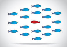 Smart unique and happy fish moving against the group - concept design  illustration inspiring leader. A sharp smart alert happy red fish with open eyes going in Stock Images