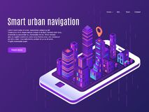 Smart urban navigation. City plane view on smartphone screen, building cities street plan and town map vector landing. Smart urban navigation. City plane view on royalty free illustration