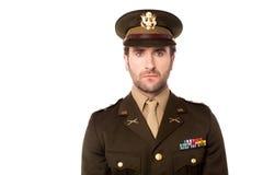 Smart US army man facing camera Stock Photo