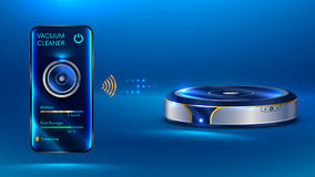Smart vacuum cleaner iot. Intelligent vacuum cleaner. The robot vacuum cleaner communicates with the smartphone via wireless. The interface of mobile application Stock Photo