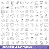 100 smart village icons set, outline style Royalty Free Stock Photos