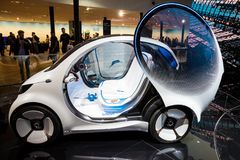 Smart Vision EQ ForTwo self-driving city car. FRANKFURT, GERMANY - SEP 13, 2017: Smart Vision EQ ForTwo self-driving city car presented at the Frankfurt IAA Stock Images
