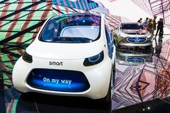 Smart Vision EQ ForTwo self-driving city car. FRANKFURT, GERMANY - SEP 13, 2017: Smart Vision EQ ForTwo self-driving city car presented at the Frankfurt IAA Stock Image