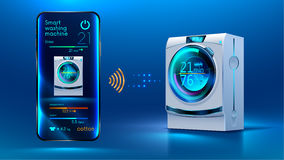 Smart washing machine. The smartphone controls via a wireless connection via the Internet with a smart washing machine. Internet of things. IOT. Smart House Stock Images