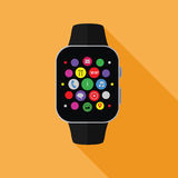Smart watch with app icons, flat concept with long shadow Stock Photo