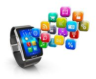 Smart watch applications concept Stock Images