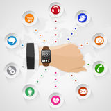 Smart Watch with Applications Stock Images