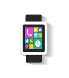 Smart watch with apps icons black Royalty Free Stock Photography
