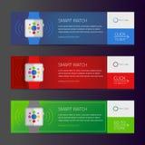 Smart watch banner design or vector website header Royalty Free Stock Photo