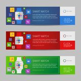 Smart watch banner design or vector website header Stock Photos