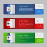 Smart watch banner design or vector website header Stock Photography