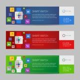 Smart watch banner design or vector website header Stock Image
