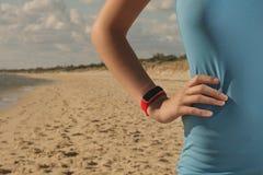 Smart watch on beach Royalty Free Stock Photos