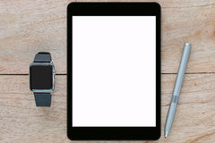 Smart watch, black tablet computer with white blank screen, styl Stock Photography