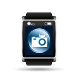 Smart watch blue screen camera icon media Royalty Free Stock Photo