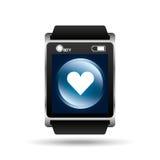 Smart watch blue screen heart icon media Stock Photos