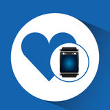 Smart watch blue screen heart icon media Stock Images