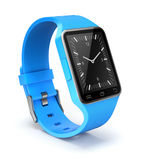 Smart watch. Blue smart watch on white background - 3D illustration stock illustration