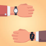 Smart watch on businessman hand. Illustration of a isolated smart watch icon. vector set. innovation watch. Smart watch on businessman hand. Illustration of a Royalty Free Stock Image