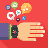 Smart watch. Concept of smart watch on businessman arm with colorful interface and flying multimedia icons. Trendy vector illustration in flat style royalty free illustration