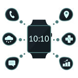 Smart watch concept. With capabilities' icons vector illustration