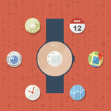 Smart watch concept with icons Stock Photos