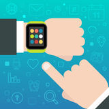 Smart Watch concept with mobile apps icons Royalty Free Stock Photos