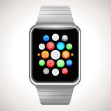 Smart Watch Concept with mobile apps icons Royalty Free Stock Images