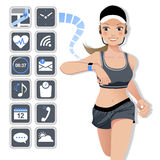 Smart watch concept - sport woman and icons Royalty Free Stock Photos