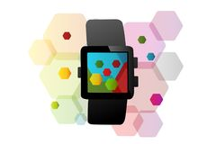 Smart watch. Concept with watch symbol over colorful abstract hexagon shapes Royalty Free Stock Photography