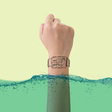 Smart watch concept of waterproof Royalty Free Stock Image