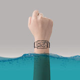 Smart watch concept of waterproof Royalty Free Stock Photo