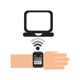 Smart watch connection laptop Royalty Free Stock Photography