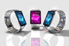 Smart watch. Creative business mobility and modern mobile wearable device technology concept. Stock Photos