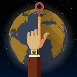 Smart watch and Earth Stock Photography
