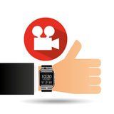 Smart watch - film movie camera. Vector illustration eps 10 Stock Photos